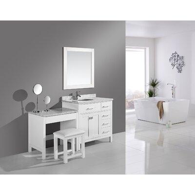 Halcomb 66 Single Bathroom Vanity Set Base Finish: White