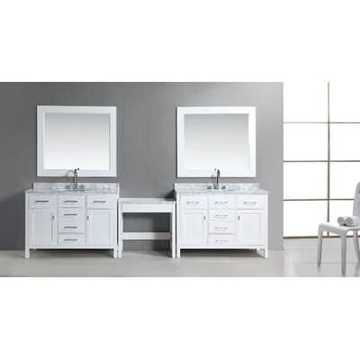 Middletown 126 Double Bathroom Vanity Set with Mirror Base Finish: White
