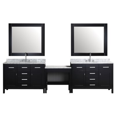 Middletown 126 Double Bathroom Vanity Set with Mirror Base Finish: Espresso