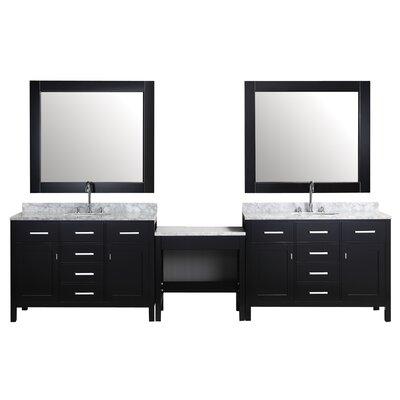 Halcomb 126 Double Bathroom Vanity Set with Mirror Base Finish: Espresso