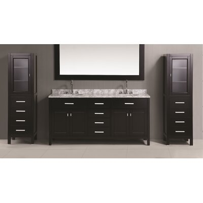 Middletown 108 Double Bathroom Vanity Set with Mirror Base Finish: Espresso