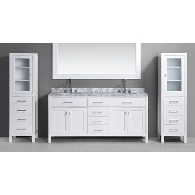 Middletown 108 Double Bathroom Vanity Set with Mirror Base Finish: White