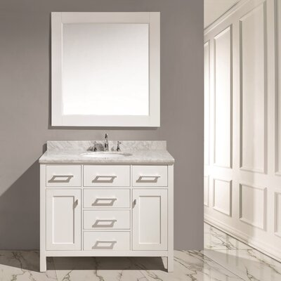 Middletown 42 Single Bathroom Vanity Set with Mirror Base Finish: White