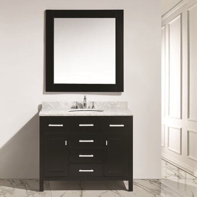 Halcomb 42 Single Bathroom Vanity Set with Mirror Base Finish: Espresso