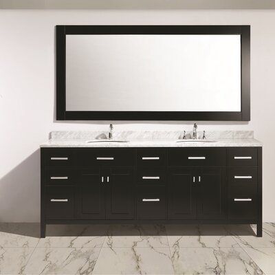 Middletown 84 Double Sink Vanity Set with Mirror Base Finish: Espresso