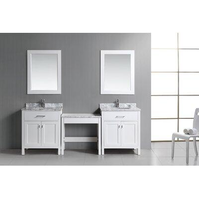 Halcomb 90 Double Bathroom Vanity Set Base Finish: White