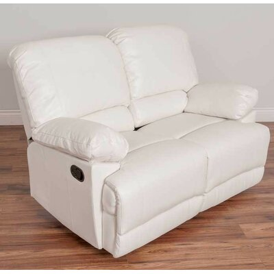 Condron Reclining Loveseat Upholstery: White