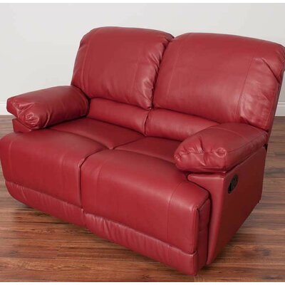 Condron Reclining Loveseat Upholstery: Red