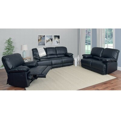 Condron 3 Piece Reclining Sofa Set Upholstery: Black