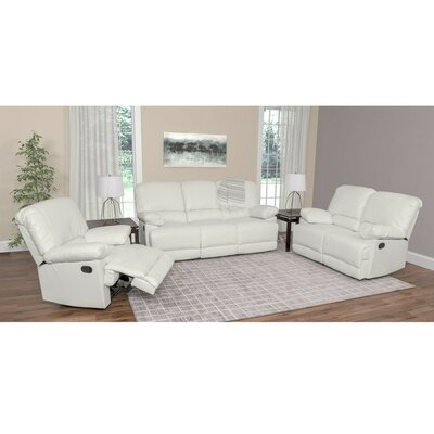 Condron 3 Piece Reclining Sofa Set Upholstery: White