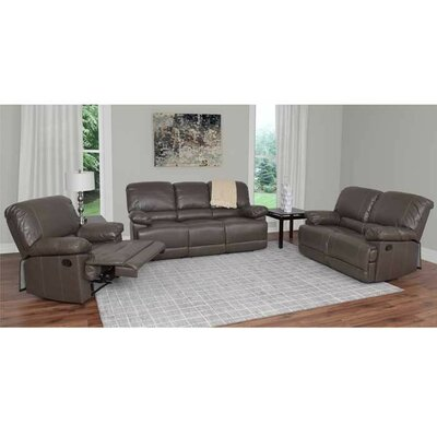 Condron 3 Piece Reclining Sofa Set Upholstery: Brown