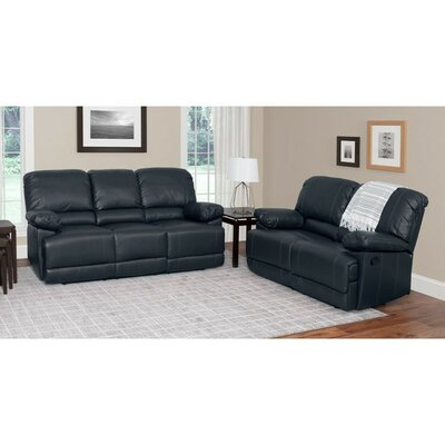 Condron 2 Piece Reclining Sofa Set Upholstery: Black