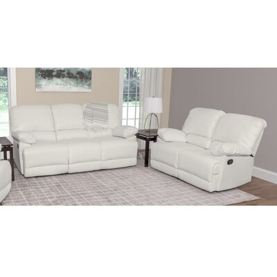 Condron 2 Piece Reclining Sofa Set Upholstery: White