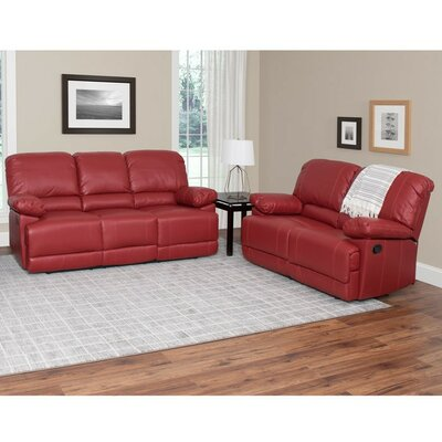 Condron 2 Piece Living Room Set Upholstery: Red