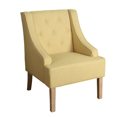 Crandall Tufted Swoop Armchair Finish: White Washed, Upholstery: Soft Yellow