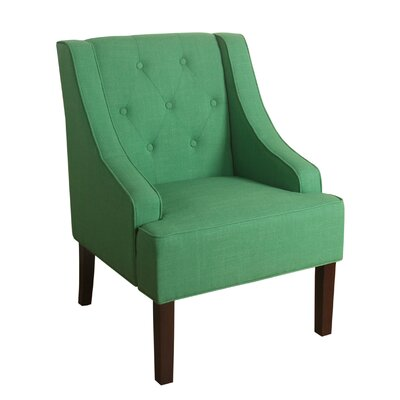 Crandall Tufted Swoop Armchair Finish: Dark Walnut, Upholstery: Kelly Green