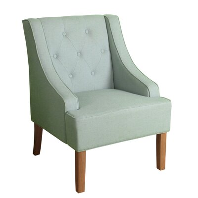 Crandall Tufted Swoop Armchair Finish: Natural, Upholstery: Spa Blue