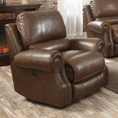 Crete Leather Power Recliner Color: Saddle Brown RDBS6713 32537457