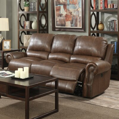 Crete Leather Reclining Sofa Upholstery: Saddle Brown