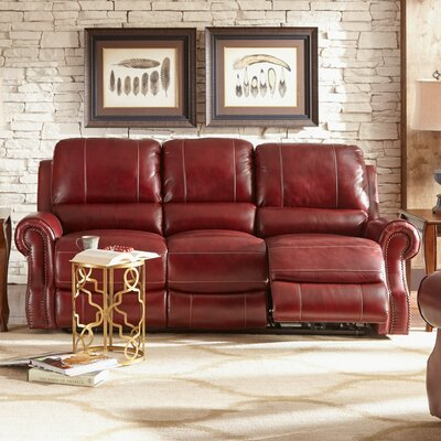 Crete Leather Reclining Sofa Upholstery: Wine
