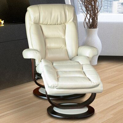Corringham Swivel Recliner and Ottoman Upholstery: Cream