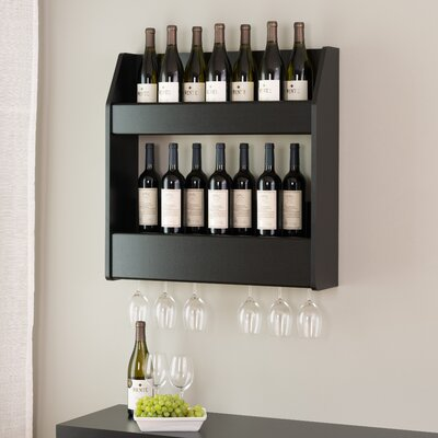 Chancey 24 Bottle Wall Mounted Wine Rack Finish: Black
