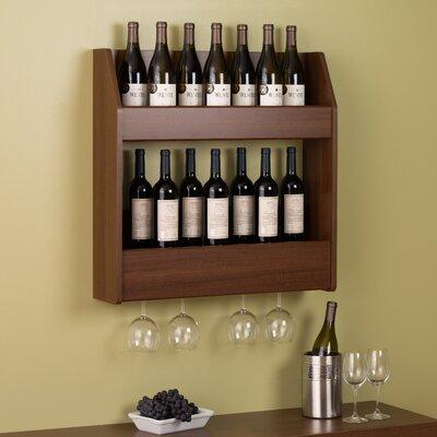 Chancey 24 Bottle Wall Mounted Wine Rack Finish: Warm Cherry