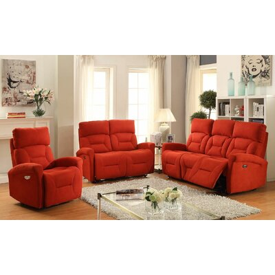 Crippen 3 Piece Power Reclining Living Room Set Upholstery: Red