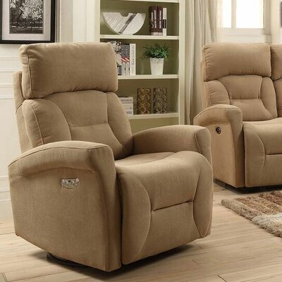 Crippen Swivel Power Glider Reclining Upholstery: Camel