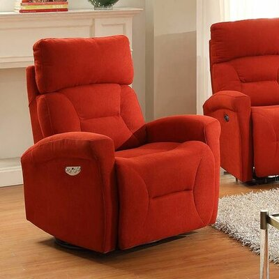 Crippen Swivel Power Glider Reclining Upholstery: Red