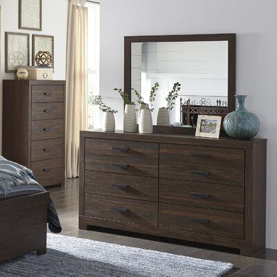 Caffey 6 Drawer Dresser with Mirror