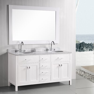 Middletown 61 Double Bathroom Vanity Set with Mirror Base Finish: Pearl White
