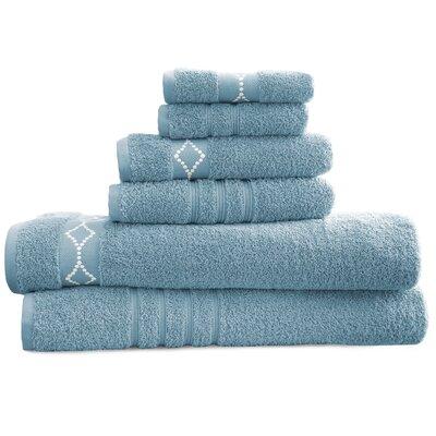 6 Piece Towel Set Color: Blue/Ivory