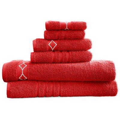 6 Piece Towel Set Color: Cranberry/Ivory