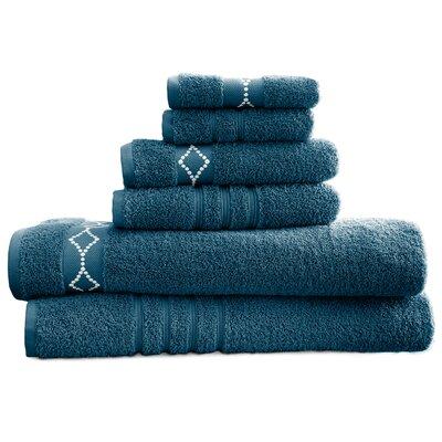 6 Piece Towel Set Color: Denim/Ivory