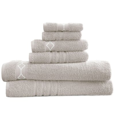 6 Piece Towel Set Color: Gray/Ivory