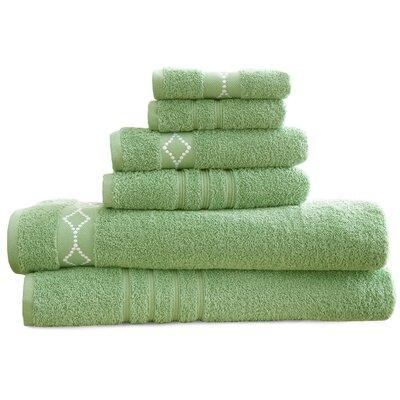 6 Piece Towel Set Color: Sage/Ivory