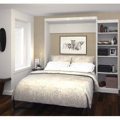 Jordan Queen Storage Murphy Bed Color: White