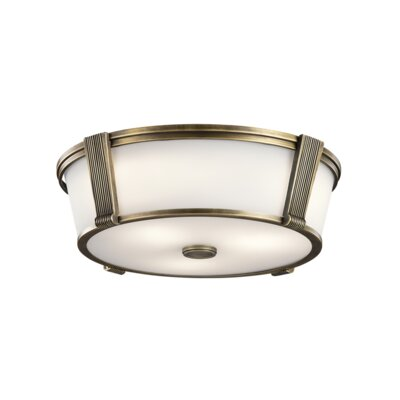 De Witt 2-Light Flush Mount Finish: Natural Brass