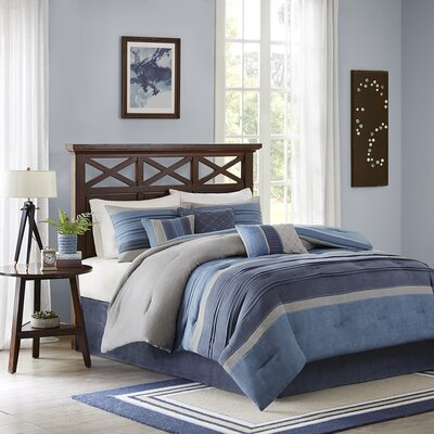 Delavan 7 Piece Comforter Set Color: Navy, Size: King
