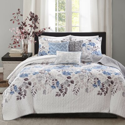 Dalrymple 6 Piece Coverlet Set Color: Blue, Size: King / California King
