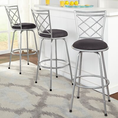 Lamoille Adjustable Height Swivel Bar Stool Finish: Silver