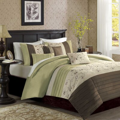 Southbury 6 Piece Duvet Cover Set Size: Full / Queen, Color: Green
