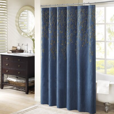 Monrovia Embroidered Shower Curtain Color: Blue