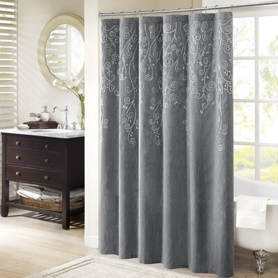 Monrovia Embroidered Shower Curtain Color: Gray