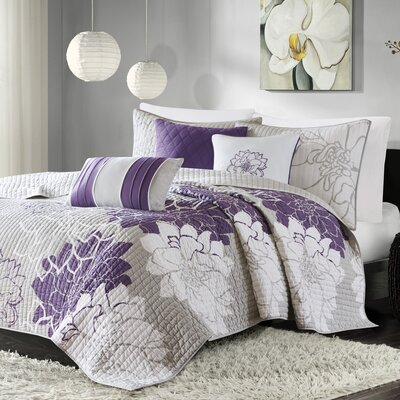 Broadwell 6 Piece Reversible Coverlet Set Size: King / California King, Color: Purple