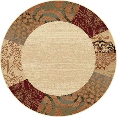 Malone Beige Floral Area Rug Rug Size: Round 53