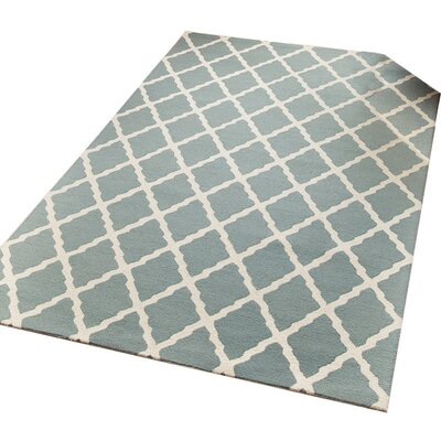 Lincoln Hand-Tufted Teal Blue Area Rug Rug Size: 5 x 8