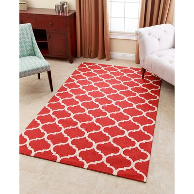 Lindenwood Hand-Tufted Red Area Rug Rug Size: 5 x 8