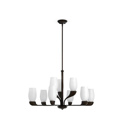 Garrick 9-Light Shaded Chandelier Finish: Oiled Bronze